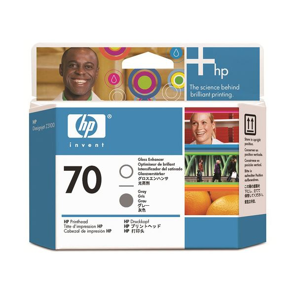 (まとめ) HP70 プリントヘッド グロスエンハンサ/グレー C9410A 1個 【×3セット】