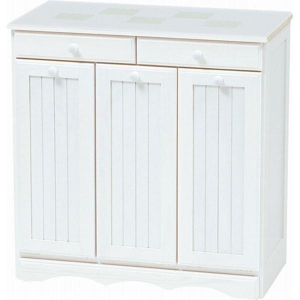 ダストボックス 木製おしゃれゴミ箱 3分別 15Lペール3個/キャスター付き MUD-3557 白(ホワイト) 【完成品】【代引不可】