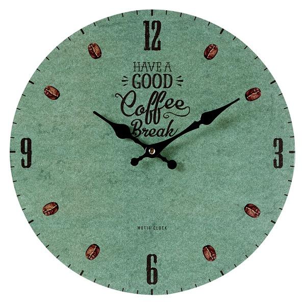 全国一律送料無料 色々なショップをイメージ 環境にも配慮したウォールクロック 贈り物 モチーフクロック 壁掛け時計 Lサイズ COFFEE グリーン 直径33cm コーヒー ブレイク BREAK-green-