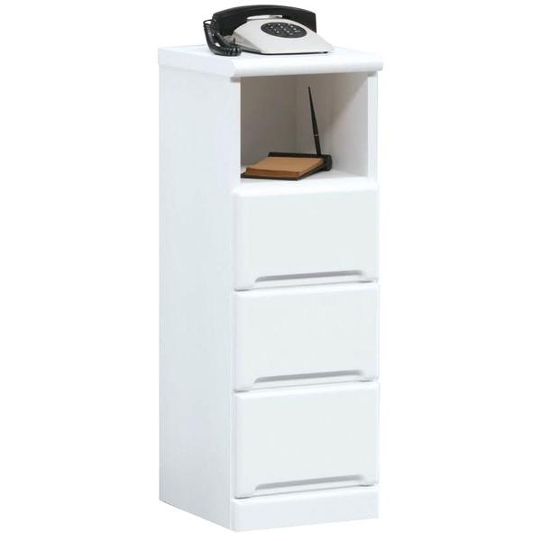 電話台/FAX台(サイドチェスト) 【幅30cm】 3段/オープン収納棚付き 日本製 ホワイト(白) 【完成品】【代引不可】