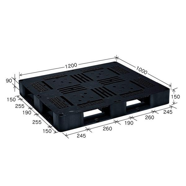 岐阜プラスチック工業 プラスチックパレット J-D4・1210 片面使用ブラック 1200×1000mm【代引不可】