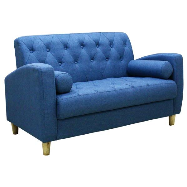 ソファー 【2人掛け】 ファブリック地 座面下収納 クッション/肘付き 北欧風 ブルー(青)【代引不可】
