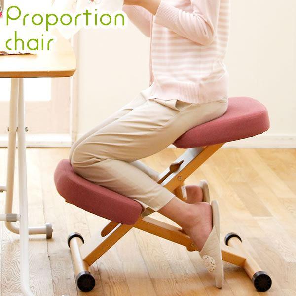 プロポーションチェア(姿勢矯正椅子) 木製(天然木) 座面高さ調整可/キャスター付き ブルー(青)【代引不可】