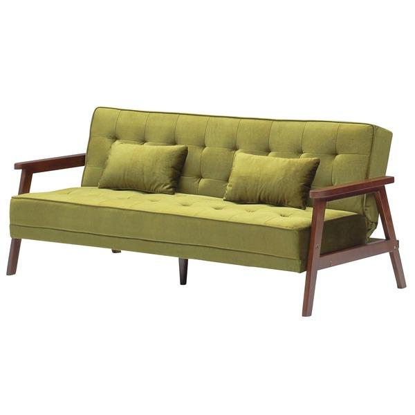 ソファーベッド 【シングルサイズ】 ファブリック(布製) クッション2個/肘付き グリーン(緑)【代引不可】