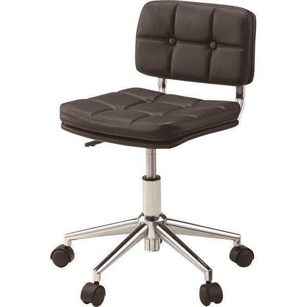 (2脚セット)東谷 デスクチェア(椅子) 昇降機能付き スチール/ソフトレザー/合皮 RKC-301BK ブラック(黒) 【×2セット】