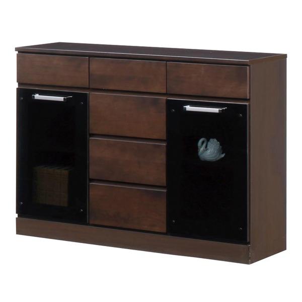 キャビネットB(サイドボード/キッチン収納) 【幅111cm】 木製 ガラス扉付き 日本製 ダークブラウン 【完成品】【代引不可】