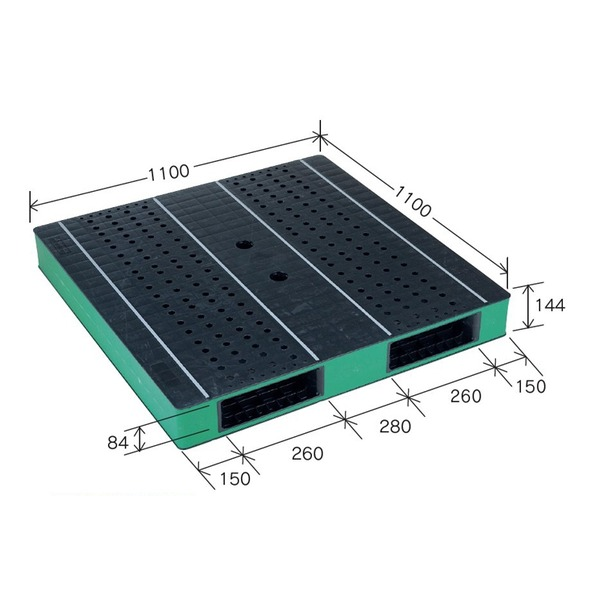 岐阜プラスチック工業 カラープラスチックパレット HB-R2・1111SC ブラック/グリーン 両面使用 1100×1100mm 自動倉庫対応【代引不可】