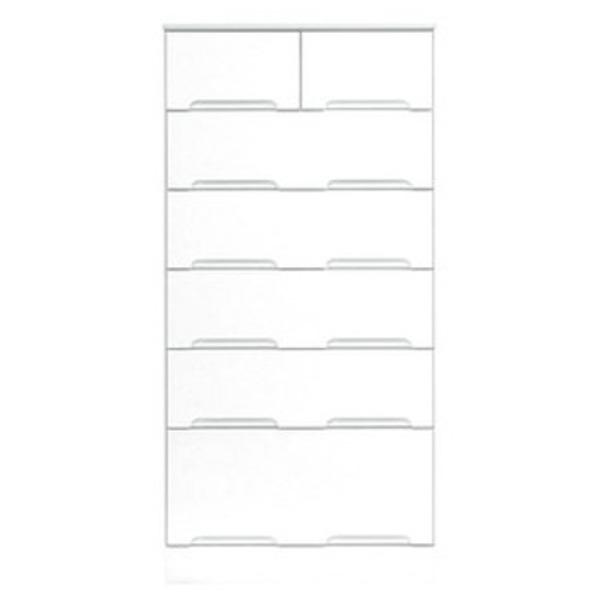 ハイチェスト 6段 【幅60cm】 スライドレール付き引き出し 日本製 ホワイト(白) 【完成品】【開梱設置】【代引不可】
