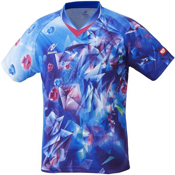 ニッタク(Nittaku)卓球アパレル UNI SKYCRYSTAL SHIRT(ユニスカイクリスタルシャツ)ゲームシャツ(男女兼用 ・ジュニアサイズ対応)NW2182 ブルー 3S
