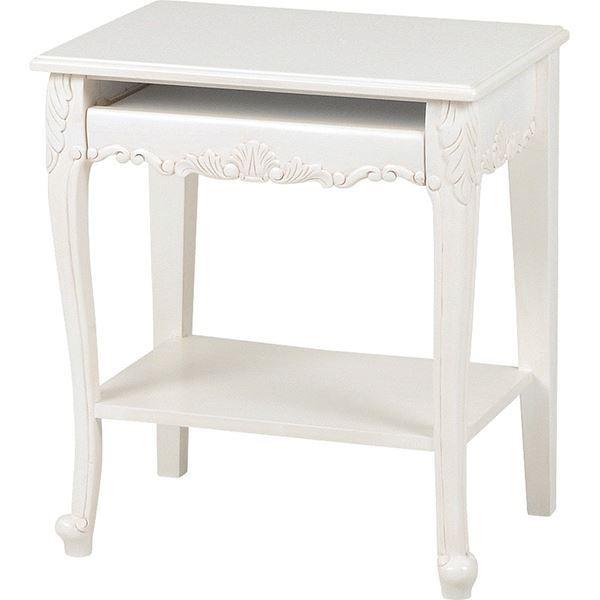 パソコンテーブル ヴィオレッタシリーズ 木製 RT-1772 アンティーク調ホワイト(白) 【代引不可】