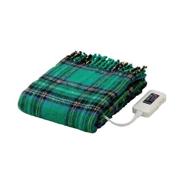 かわいい電気ひざ掛け毛布 ダニ退治機能/室温センサー付き 洗濯可 日本製 長方形 82cm×140cm グリーン(緑)【代引不可】