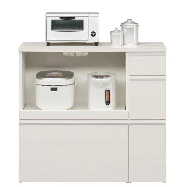 キッチンカウンター 幅100cm 二口コンセント/スライドテーブル/引き出し付き 日本製 ホワイト(白) 【完成品】【代引不可】