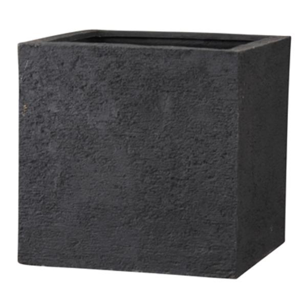 新素材ポリストーンライト リガンデ キューブ 40cm ブラック /樹脂製植木鉢