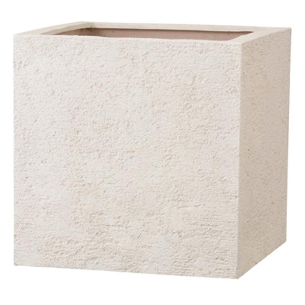 新素材ポリストーンライト リガンデ キューブ 40cm アイボリー /樹脂製植木鉢