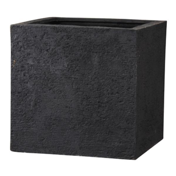 新素材ポリストーンライト リガンデ キューブ 50cm ブラック /樹脂製植木鉢