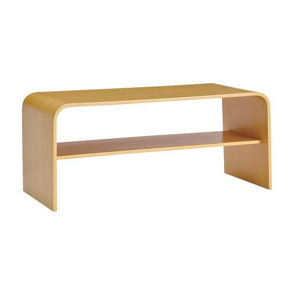 シンプルモダン ローテーブル 【ナチュラル】 幅91.5cm 棚板1枚付き 高耐久性 オーク材 〔リビング ダイニング〕【代引不可】