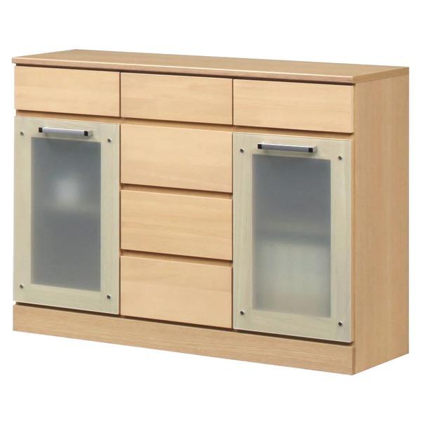 キャビネットB(サイドボード/キッチン収納) 【幅111cm】 木製 ガラス扉付き 日本製 ナチュラル 【完成品】【代引不可】