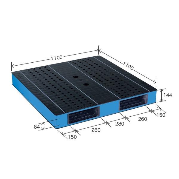 岐阜プラスチック工業 カラープラスチックパレット HB-R2・1111SC ブラック/ブルー 両面使用 1100×1100mm 自動倉庫対応【代引不可】