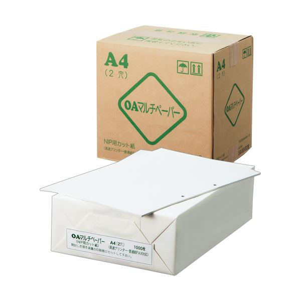 (まとめ) 日本製紙 OAマルチカットペーパー A4長辺 2穴 OAマルチ A4 2H 1箱(3000枚:1000枚×3冊) 【×5セット】
