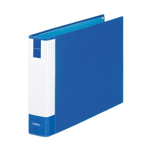 (まとめ) ライオン事務器 パイプ式ファイル(環境)両開き B4ヨコ 400枚収容 40mmとじ 背幅61mm ブルー No.740RK 1冊 【×10セット】