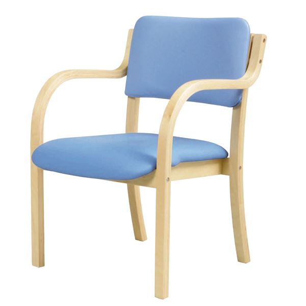 ダイニングチェア/食卓椅子 【肘付き ブルー】 幅535×奥行580×高さ770mm スタッキング可 合皮/合成皮革 〔リビング〕 組立品【代引不可】