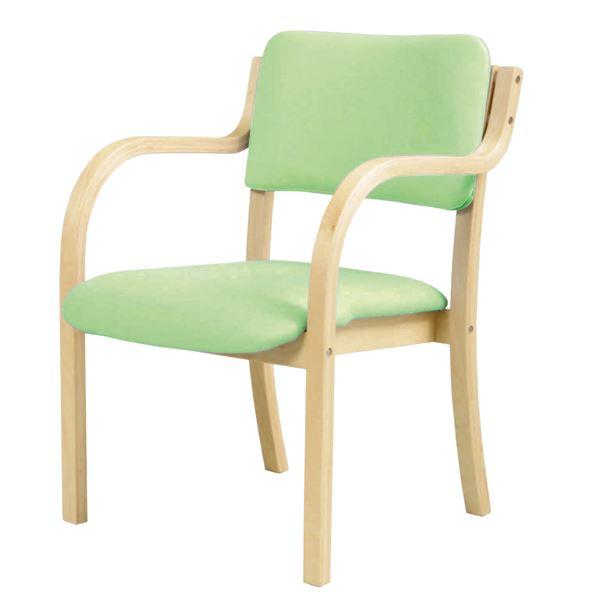 ダイニングチェア/食卓椅子 【肘付き グリーン】 幅535×奥行580×高さ770mm スタッキング可 合皮/合成皮革 〔リビング〕 組立品【代引不可】