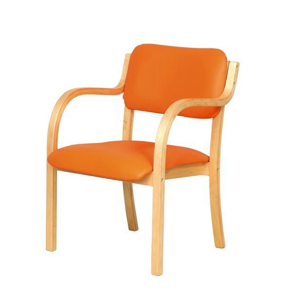 ダイニングチェア/食卓椅子 【肘付き オレンジ】 幅535×奥行580×高さ770mm スタッキング可 合皮/合成皮革 〔リビング〕 組立品【代引不可】