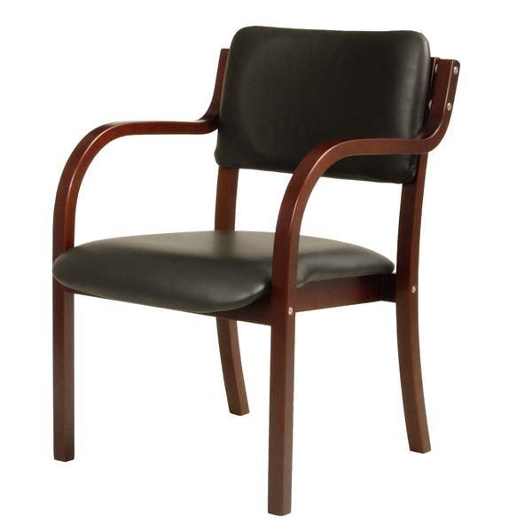 ダイニングチェア/食卓椅子 【肘付き ブラック】 幅535×奥行580×高さ770mm 合皮/合成皮革 スタッキング可 〔リビング〕 組立品【代引不可】