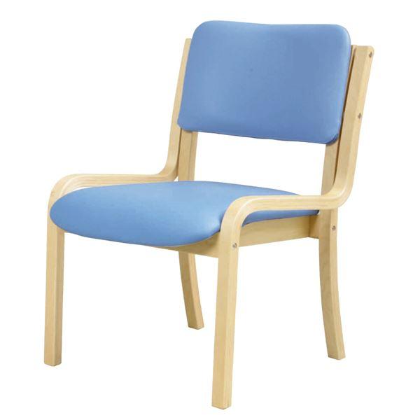 ダイニングチェア/食卓椅子 【肘なし ブルー】 幅535mm 合皮/合成皮革 スタッキング可 〔リビング〕 組立品【代引不可】