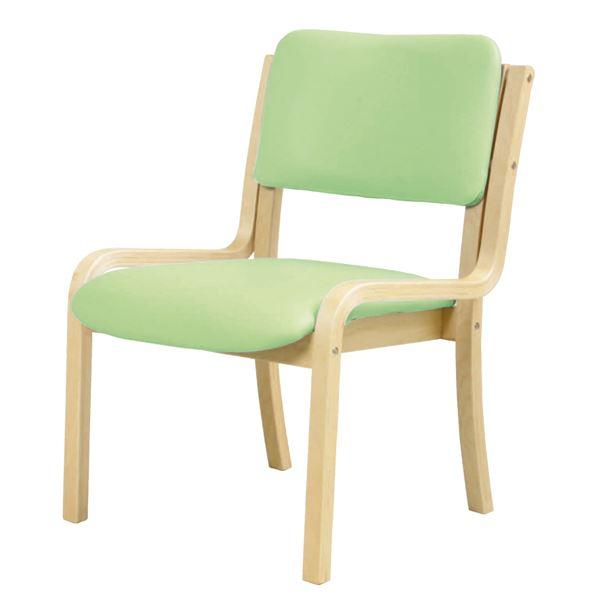 ダイニングチェア/食卓椅子 【肘なし グリーン】 幅535mm 合皮/合成皮革 スタッキング可 〔リビング〕 組立品【代引不可】