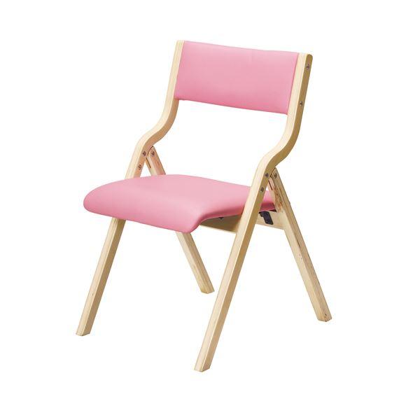 折りたたみ椅子/フォールディングチェア 【ピンク】 幅475mm 合皮/合成皮革 〔リビング ダイニング〕 完成品【代引不可】