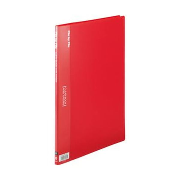 固定式 大量書類の分類 保管に 同色10冊セットでお届け まとめ ビュートン クリヤーブック ×10セット 10冊 背幅9mm A4タテ10ポケット レッド 贈物 品質検査済 BCB-A4-10R 1セット