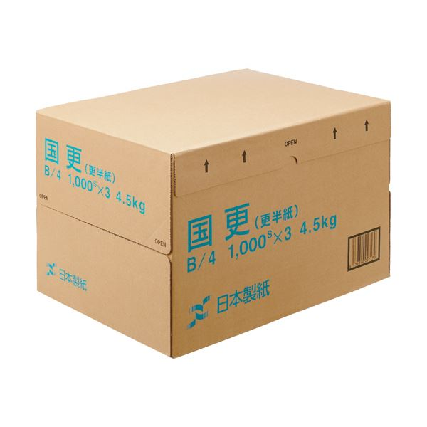 (まとめ) 日本製紙 国更(更紙・わら半紙)B4T目 48.4g/m2 KNZN-B4 1箱(3000枚:1000枚×3冊) 【×5セット】