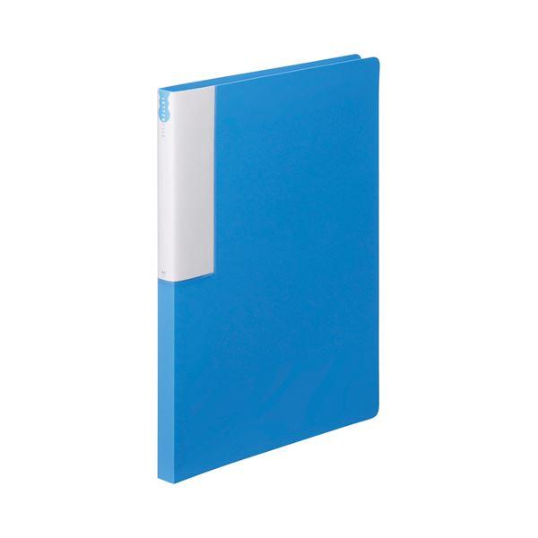 (まとめ) TANOSEE レターファイル(PP) A4タテ 120枚収容 背幅18mm ブルー 1セット(10冊) 【×5セット】