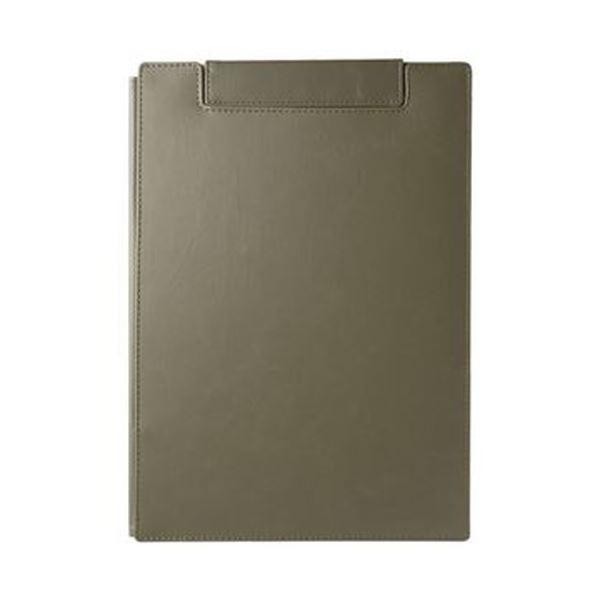 (まとめ)キングジム レザフェスUクリップボード(カバー付)A4 オリーブ 1932LU 1枚【×10セット】