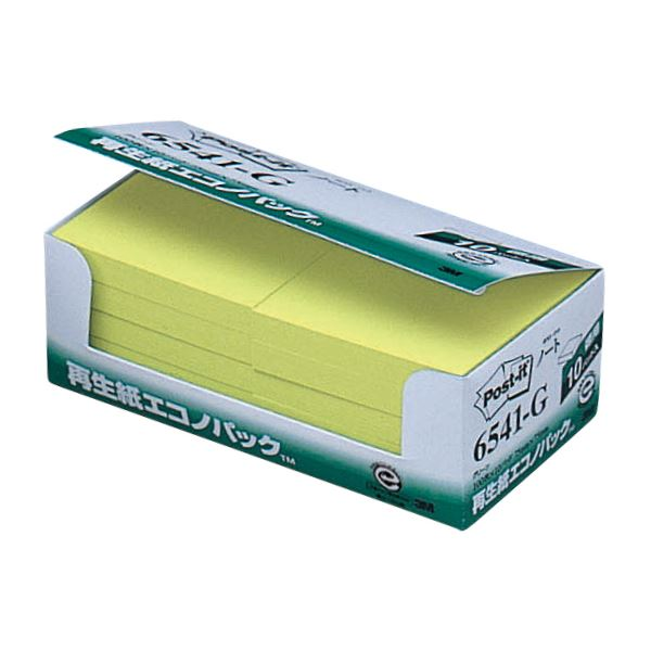 (まとめ) 3M ポスト・イット エコノパックノート 再生紙 75×75mm グリーン 6541-G 1パック(10冊) 【×10セット】