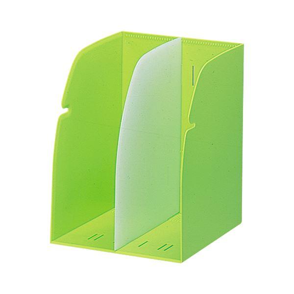 (まとめ) リヒトラブ REQUEST ブックスタンド 2ブロック 黄緑 G1620-6 1個 【×10セット】