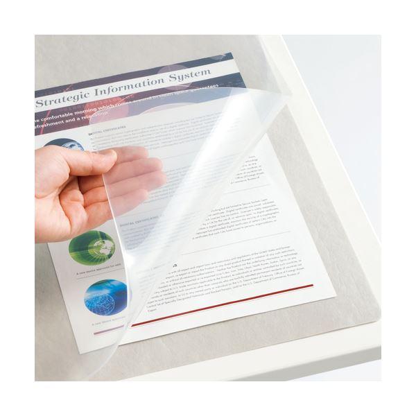 (まとめ) TANOSEE 再生透明オレフィンデスクマット ダブル(下敷付) 990×690mm グレー 1枚 【×10セット】