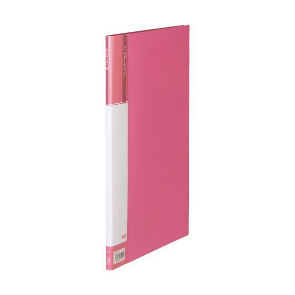 (まとめ) TANOSEEクリヤーファイル(台紙入) A4タテ 10ポケット 背幅11mm ピンク 1セット(10冊) 【×10セット】