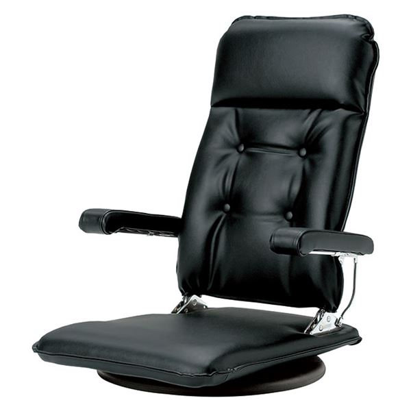 MFR-本革 座椅子 フロアチェア ブラック 【完成品】