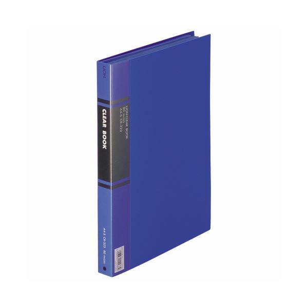 (まとめ) ライオン事務器 クリアーブック A4タテ40ポケット 背幅27mm 青 カラー台紙付 CR-323 1冊 【×10セット】