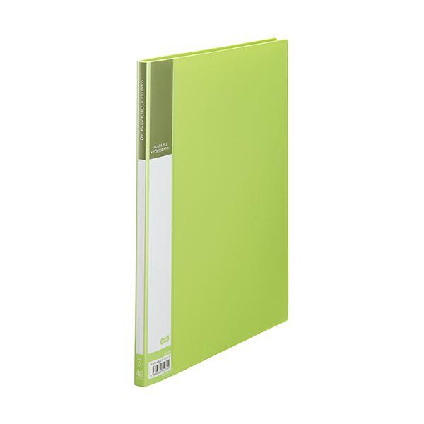 (まとめ) TANOSEE書類が入れやすいクリヤーファイル「ヨコカラ」 A4タテ 40ポケット 背幅11mm ライトグリーン 1冊 【×30セット】