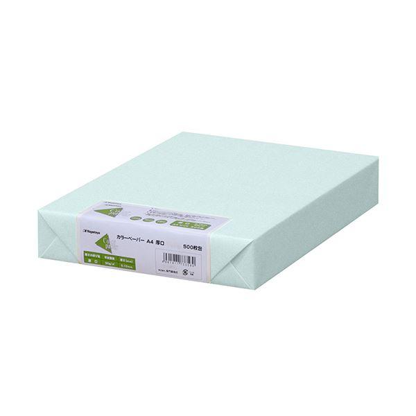 (まとめ) 長門屋商店 Color Paper A4厚口 水 ナ-3360 1冊(500枚) 【×5セット】