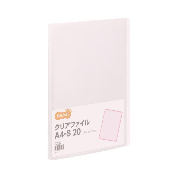 (まとめ) TANOSEE クリアファイル A4タテ 20ポケット 背幅14mm ピンク 1冊 【×100セット】
