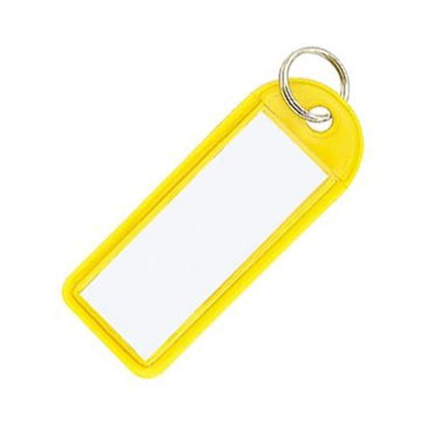 (まとめ)コクヨ ソフトキーホルダー型名札カード寸法42×17mm 黄 ナフ-225Y 1セット(50個)【×5セット】