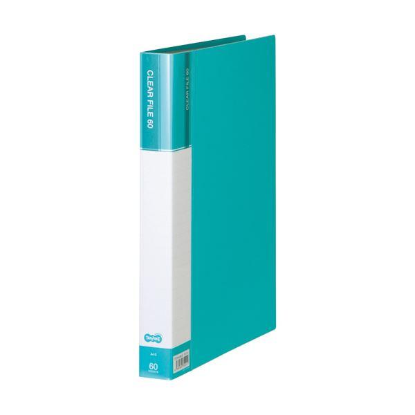 (まとめ) TANOSEEクリヤーファイル(台紙入) A4タテ 60ポケット 背幅34mm ライトブルー 1冊 【×30セット】
