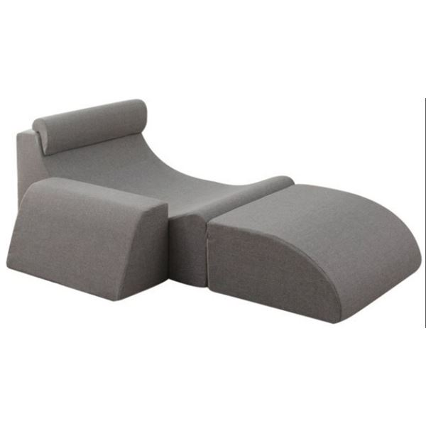 レイアウト自由 座椅子/フロアチェア 【グレー】 最大幅158cm 分割可能 ウレタン ポリエステル 〔リビング〕【代引不可】