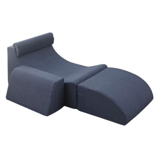 レイアウト自由 座椅子/フロアチェア 【ブルー】 最大幅158cm 分割可能 ウレタン ポリエステル 〔リビング〕【代引不可】