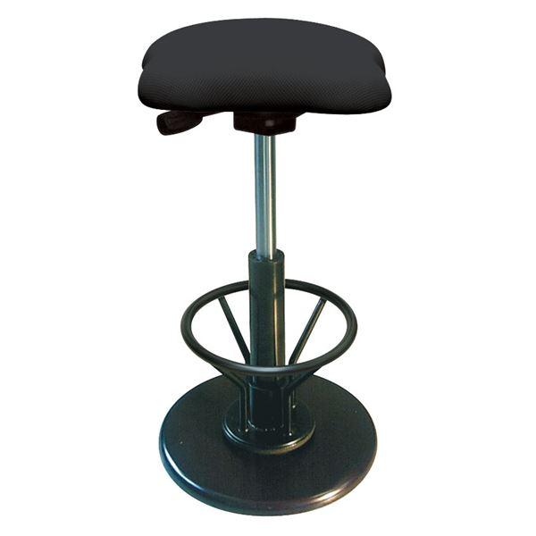 モダン スツール/丸椅子 【フットレスト付き ブラック×ブラック】 幅33cm 日本製 【代引不可】