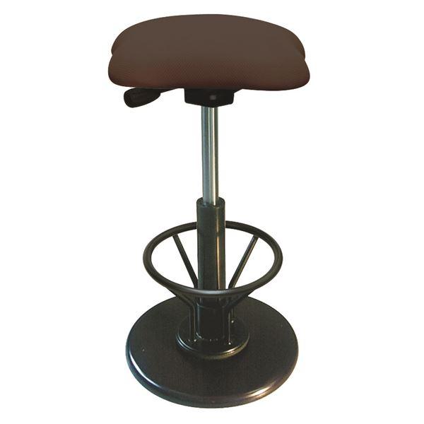 モダン スツール/丸椅子 【フットレスト付き ブラウン×ブラック】 幅33cm 日本製 【代引不可】